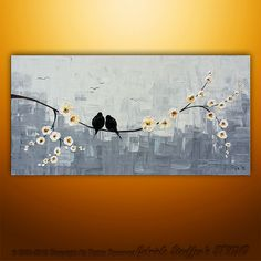 Abstract Landscape Tree Birds Painting Textured Modern Palette Knife Impasto Art by Gabriela 48x24. $199.00, via Etsy.