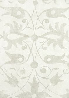 Saffron Walden Tracery Wallpaper Elizabethan inspired wallpaper with sprawling silver/grey design on light grey paper.