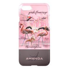 Pink Flamingo Typography Monogram   Customized iPhone 8/7 Case -nature diy customize sprecial design