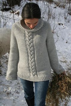 """For a rewarding quick knit this sweater is knit using large needles and chunky yarn, also knit from the top down for a seamless finish.Simply elegant or cozy and casual , this """"go to sweater"""" is also practical enough for heavy duty wear down on the farm. Happy knitting."""