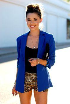 Cobalt blazer, gold shorts