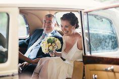 wedding, retro wedding. retro car, bride, groom, summer wedding, old car, white car, father and daughter