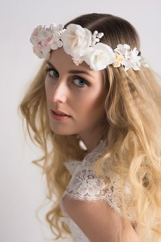 Beautiful floral headpieces and flower crowns for brides and flowergirls, crafted from soft clay.   Headpieces by Lila http://www.lila-lila.com/index.html Photography by http://www.jamiecowlishaw.co.uk/