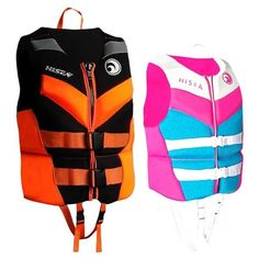 HISEA Teen Adults Neoprene ... Life Jackets, Curve Design, Rowing, Water Sports, Pink Blue, Motorcycle Jacket, Boy Or Girl, Surfing, Vest