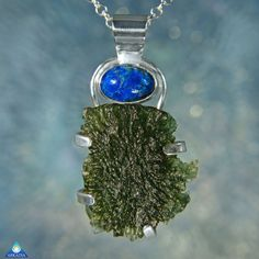 Cavensite & Raw Moldavite 47 Carat Sterling by ArkadianCollection