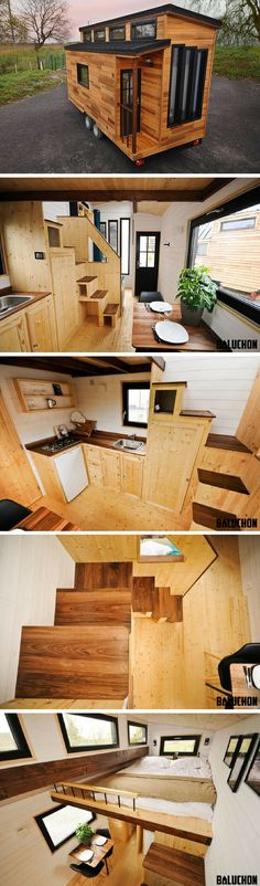 The Escapade: a beautiful, modern French tiny house. (Great layout for a really tiny house. Love the little family room! Modern Tiny House, Tiny House Living, Tiny House Plans, Tiny House Design, Tiny House On Wheels, Tiny House Nation, Tiny House Movement, Tiny Spaces, Little Houses