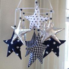 Baby mobiel sterren donkerblauw zilver MAX