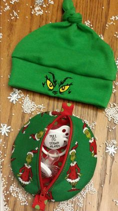 Items similar to GRINCH Baby Beanie Hats Pacifier Pods Burp CLoThS SweeT  GrinchMaS Baby Gift   Adorable StocKing Stuffer Boutique Unique Designs by  ... 88728c06cfc3