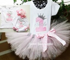 Pink Princess Baby Girl 1st Birthday Outfit with Silver Glitter Rhinestone Crown + Matching Bloomers + Matching Bib + Over the Top Bow on Etsy, $59.95