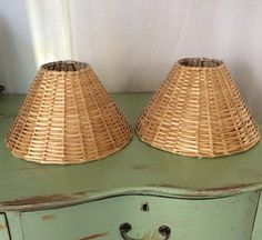 Pair Wicker Lampshades empire style clip on hardware by MyVintageApartment on Etsy Lampshades, Lamp, Bulb, Etsy, Hanging, Wicker Lamp Shade, Hardware, Hamptons Style Decor
