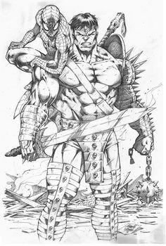 Spider-Man and Planet Hulk by Marcio Abreu