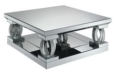 Coaster 722518 40 Inch Coffee Table with Tempered Glass Top, Decorative Curved Table Columns Adorned with Rhinestones and Mirrored Panels All Around in Silver Modern Square Coffee Table, Modern Table, Mirrored Coffee Tables, Silver Coffee Table, Mirror Panels, Coaster Furniture, A Table, Table Settings, Glass
