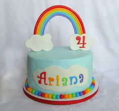 Rainbow cake..like this but rainbow flat/puffy on top of the cake instead of standing up