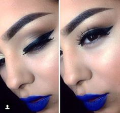 Winged liner & blue lipstick