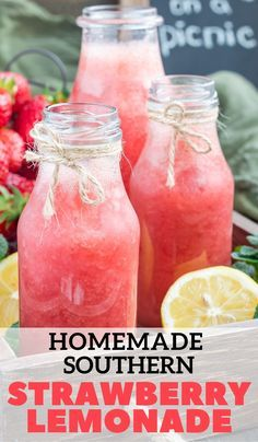 Homemade Strawberry Lemonade, Strawberry Drinks, Fruit Drinks, Non Alcoholic Drinks, Healthy Drinks, Beverages, Strawberry Refresher Recipe, Cold Drinks, Food And Drinks