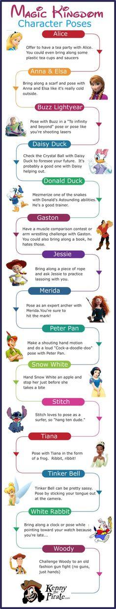 Poses for Magic Kingdom Disney World Character Photos.