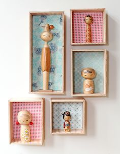 DIY Kokeshi Display | Poppytalk  Do you have something you collect? For me, it's porcelain birds. I have about oh… 7. OK, so tha...
