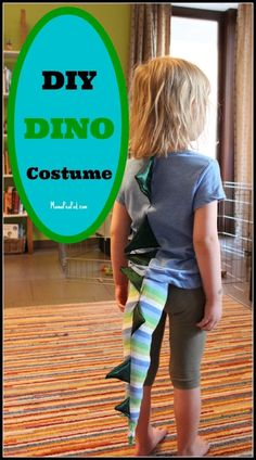 Do your kids love dress up play? This DIY homemade dinosaur costume for dress up play is SO EASY to make! Girl Dinosaur Costume, Dinosaur Fancy Dress, Make A Dinosaur, Dinosaur Outfit, Dinosaur Party, Dinosaur Birthday, Fun Crafts For Kids, Diy For Kids, Nifty Crafts