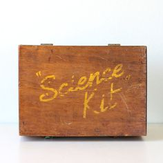 Vintage Science Kit Wooden Box.