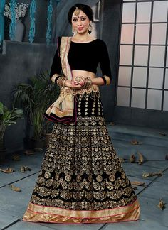 Precious Resham Work Black Velvet A Line Lehenga Choli
