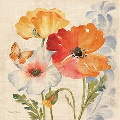 Watercolor Poppies Multi II <br/> Pamela Gladding