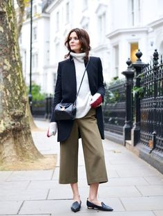 Bloglovin Blog Fall Winter Style Khaki Culottes Grey Mohair Turtleneck Sweater Short Coat Snake Embossed Cross Body Bag Nicholas Kirkwood Pointed Toe Flats Blogger Hedvig The Northern Light