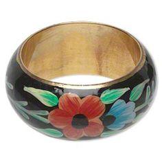 Hand Painted 36mm Wide Brass Metal Bangle Bracelet Black and Multi Flower Design