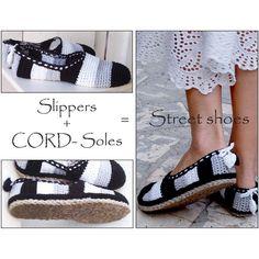(4) Name: 'Crocheting : 2in1-Pattern Black-White Sli + Cord Sole