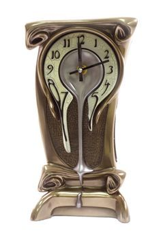 An assortment of surreal clocks on an Alice in Wonderland-style shelf? Art Nouveau Melting Clock