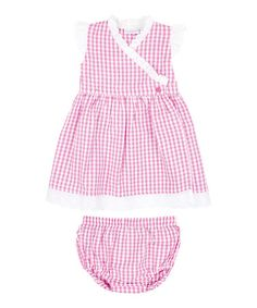 Take a look at this Pink Gingham Seersucker Wrap Dress & Diaper Cover - Infant by JoJo Maman Bébé on #zulily today!