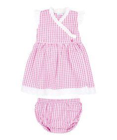 Pink Gingham Seersucker Wrap Dress & Diaper Cover - Infant #zulily #zulilyfinds