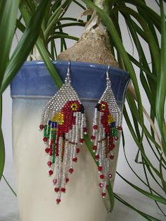 Zeddy Beads: Pair of Parrots Brick Stitch Beaded Earrings