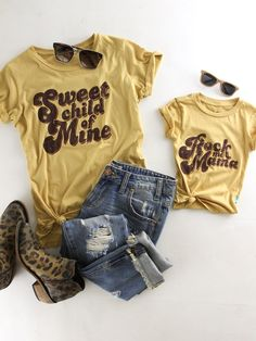 Sweet Child of Mine Everyday Tee. Rock Me Mama kids tee. Mommy and me outfits. Vintage style. therollinj.com