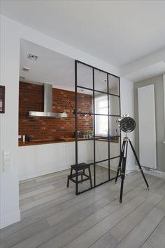 glass wall, brick, scandi, kitchen, white