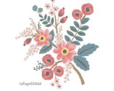 Wild pink poppy flowers cross stitch pattern  frame decor