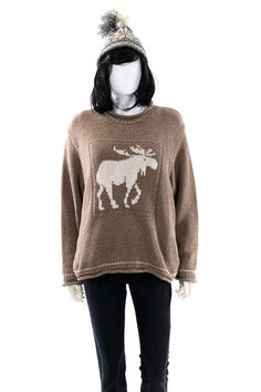 Moose Sweater Knit Winter Holiday Sweater Made by FiregypsyVintage