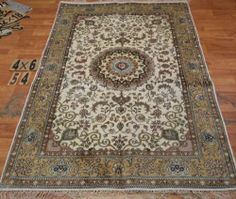 4'x6' Handmade Hand-knotted 200 kpsi Silk Oriental Persian Tabriz Rug 422