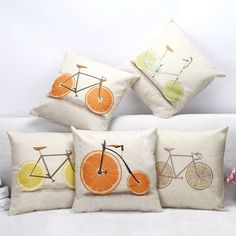 Fashion Orange Bicycle Cushions Linen Cushion Cover Creative Fruit Pillow Cover For Living Room Bed Room #Affiliate