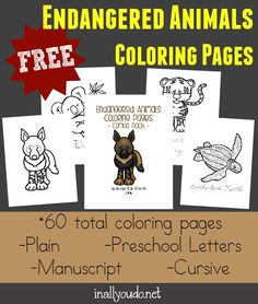 Kids will enjoy learning about some of the Endangered Animals with these SUPER CUTE Coloring Pages & Emergent Readers, available in 4 levels!!! :: www.inallyoudo.net