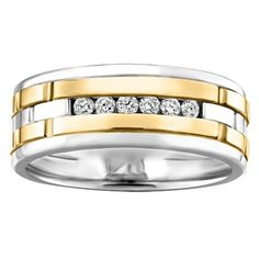 Best your mitment with this simple ctw channel set diamond wedding band set in two tone gold