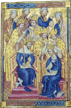 The Liber Regalis, showing King Richard II and Anne of Bohemia in a tall gold bejewelled coronation diadem | Unknown English painter - 14th century http://www.history.ac.uk/richardII/images/liber2.jpg