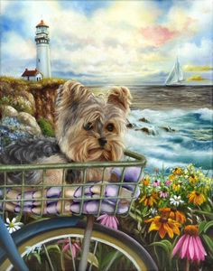 A yorkie puppy riding in the basket of a bike in front of the ocean. A lighthouse, wavas crashing, a sailboat and lots of pretty wildflowers under the colorful morning sky in this Yorkshire Terrier dog art. Dog Training Methods, Basic Dog Training, Dog Training Techniques, Training Dogs, Yorkshire Terrier Puppies, Terrier Dogs, Yorkies, Illustration Mignonne, Biking With Dog
