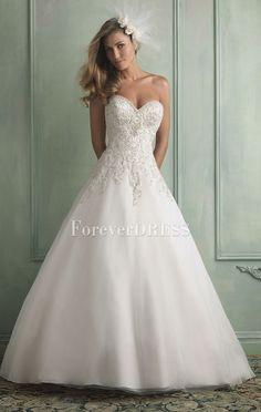 Tempting white beaded sweetheart floor-length wedding dress with long train and button back