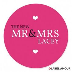 mr & mrs wedding labels