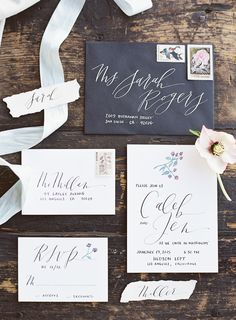 Awesome calligraphy wedding invitations by Script Merchant from our modern loft wedding inspiration captured entirely on film at the rad wedding venue Hudson Loft!