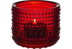 Iittala Kastehelmi candle holder tea light holder Cranberry red by AlohaSparklingJewels on Etsy