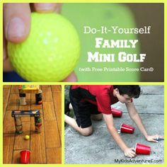 Golf Courses Love to play mini-golf with your kids? Build your own mini-golf course! Use household items to create obstacles for a putt putt course in your house or yard. Course À Obstacles, Indoor Mini Golf, Putt Putt Golf, Famous Golf Courses, Golf Club Grips, Crazy Golf, Miniature Golf, Golf Party, Building For Kids