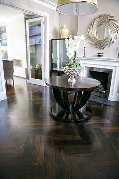 Dark Smoked oversized Herringbone Floors by AH PECK FLOORING