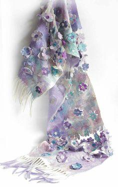 Wool Felting, Felted Scarf, Needle Felted, Nuno Felting, Wool Scarf, Wet Felting Projects, Cooling Scarf, Felt Art, Silk Scarves