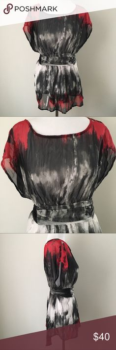 """GOTH PUNK GRUNGE SEXY SHEER BLOUSE TUNIC SHIRT TOP Gorgeous Beautiful Vintage 90's Y2K Black / Gray / White / Red Watercolor Silky Thin Lightweight Sheer Sexy Flattering Tie-back Sleeveless Blouse Shirt Top Goth Gothic Punk Rock Grunge Emo Scene Alternative Witchy Vampire  Brand new. Never used. NO flaws.  Tagged as Women's XL.  •Chest-22"""" across •Length (shoulder to bottom hem)-roughly 26"""" long  Seen modeled on: •Women's size XS •33"""" chest (A/B cup) •24"""" waist •32""""-33"""" hips  100% polyester…"""
